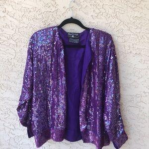 Vintage purple silk sequin blazer